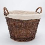 round wicker log baskets inglenook